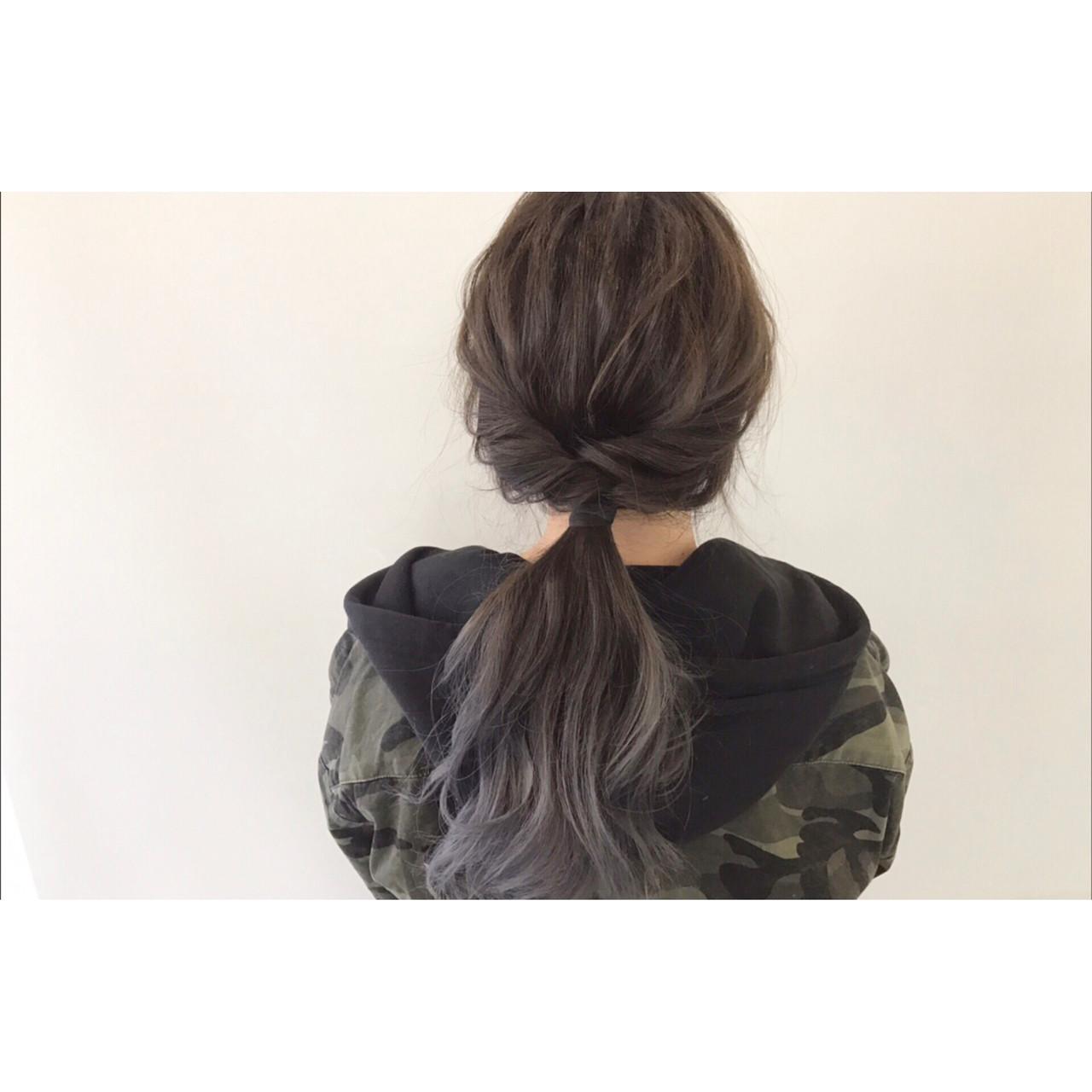 ロング グラデーションカラー ハイトーン 簡単ヘアアレンジ ヘアスタイルや髪型の写真・画像 | 新谷 朋宏 / sorte
