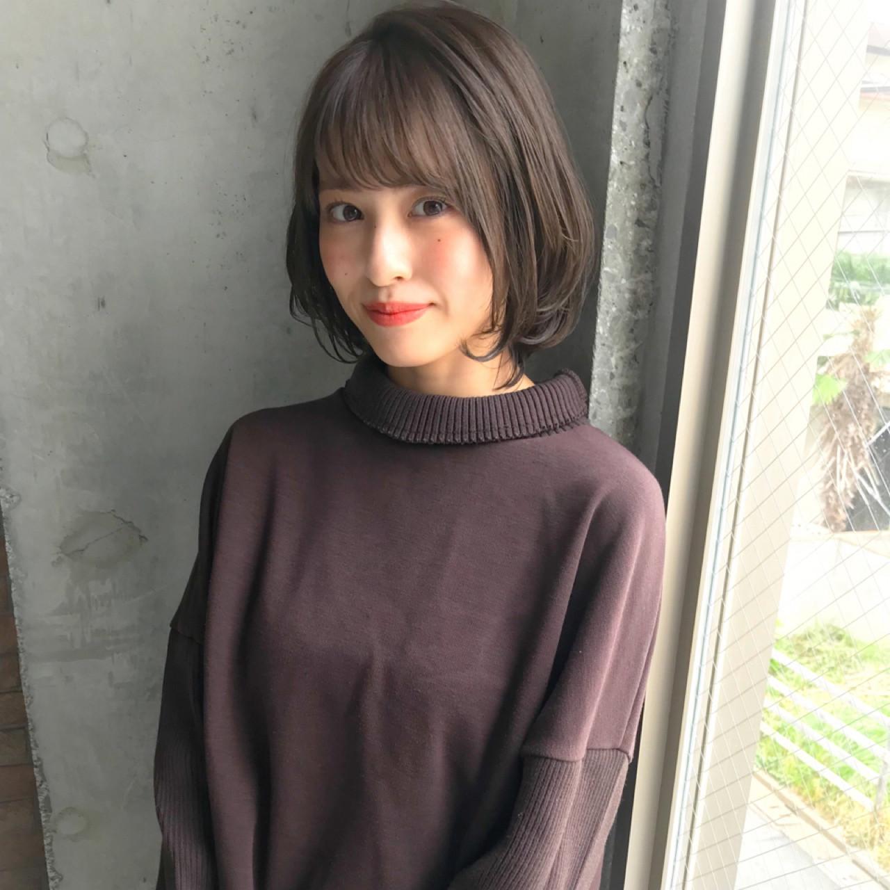 小顔 似合わせ 秋 冬 ヘアスタイルや髪型の写真・画像 | MANOHARU 新屋敷 / MANOHARU