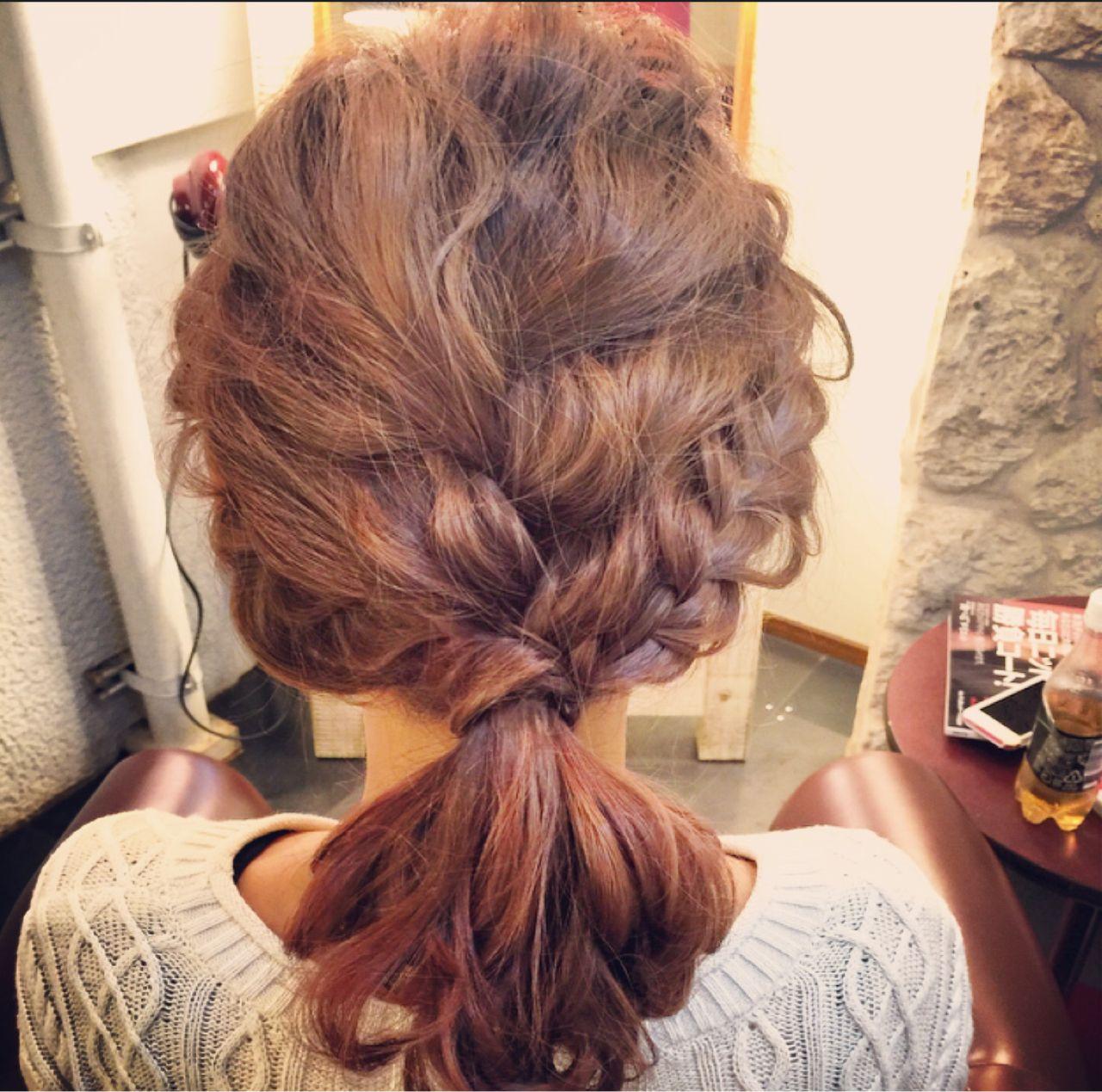 編み込み ショート ゆるふわ 大人かわいいヘアスタイルや髪型の写真・画像