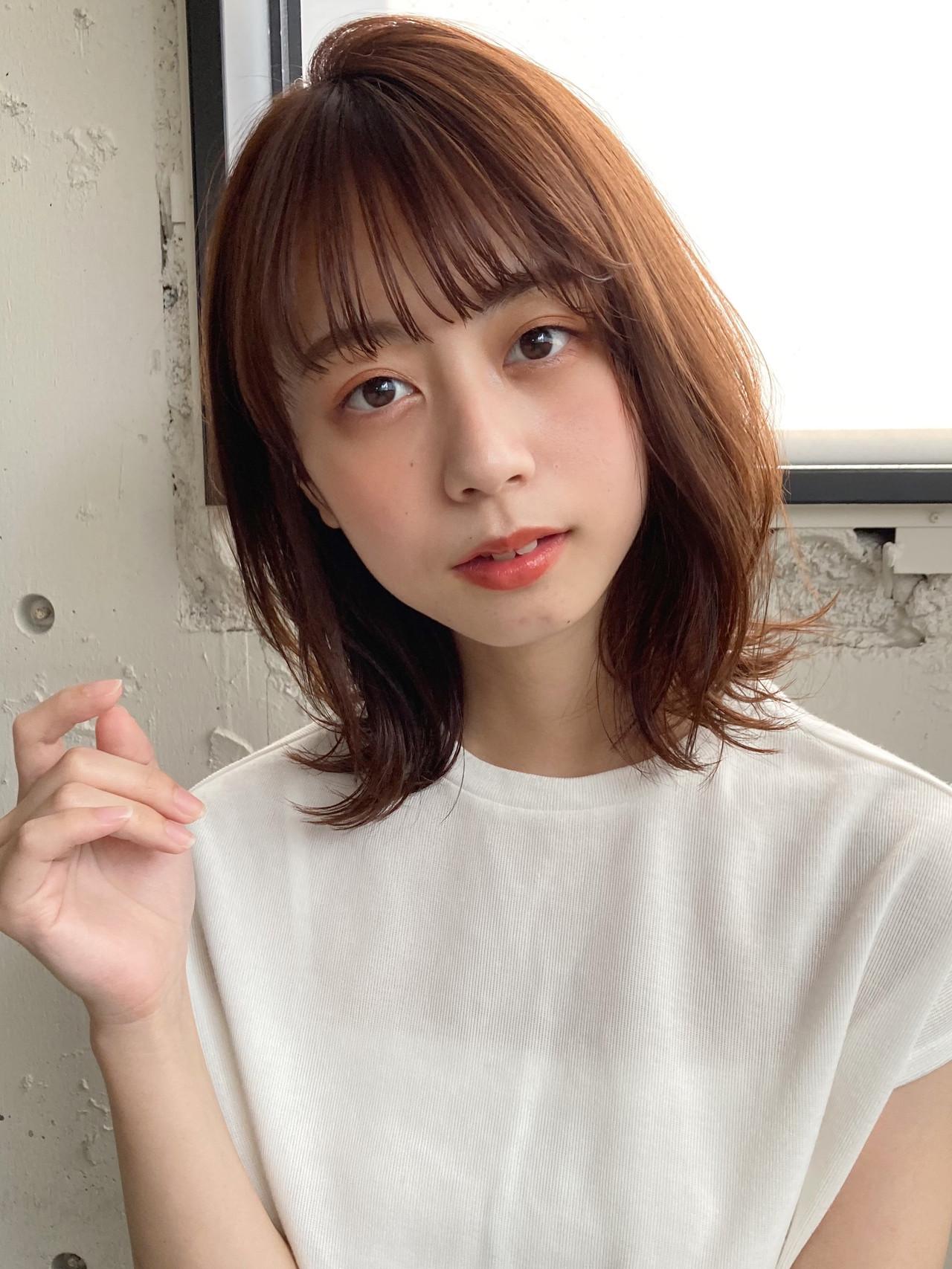 似合わせカット ミディアム ひし形シルエット デジタルパーマ ヘアスタイルや髪型の写真・画像