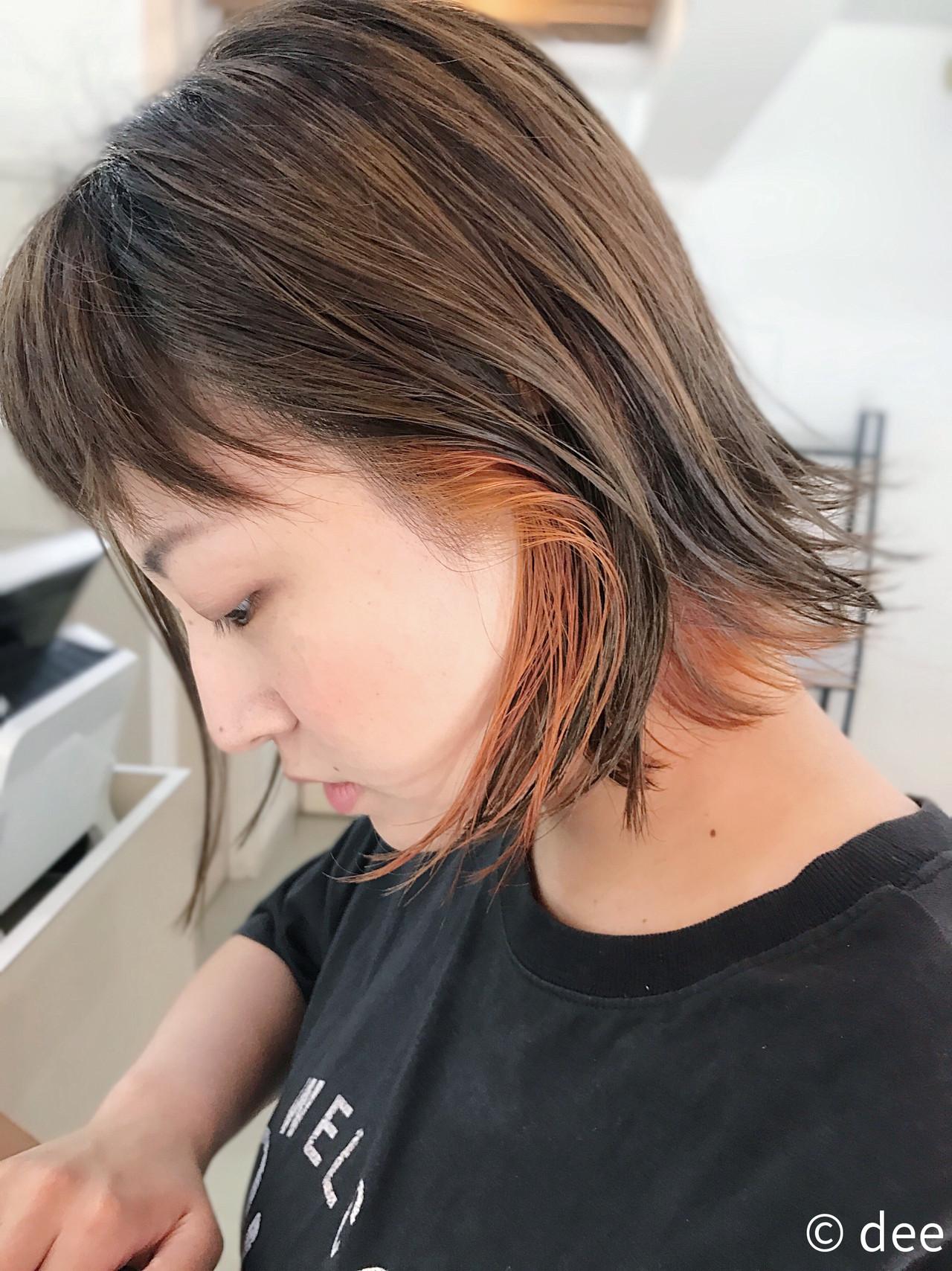 ブリーチ オレンジ ショート カーキヘアスタイルや髪型の写真・画像