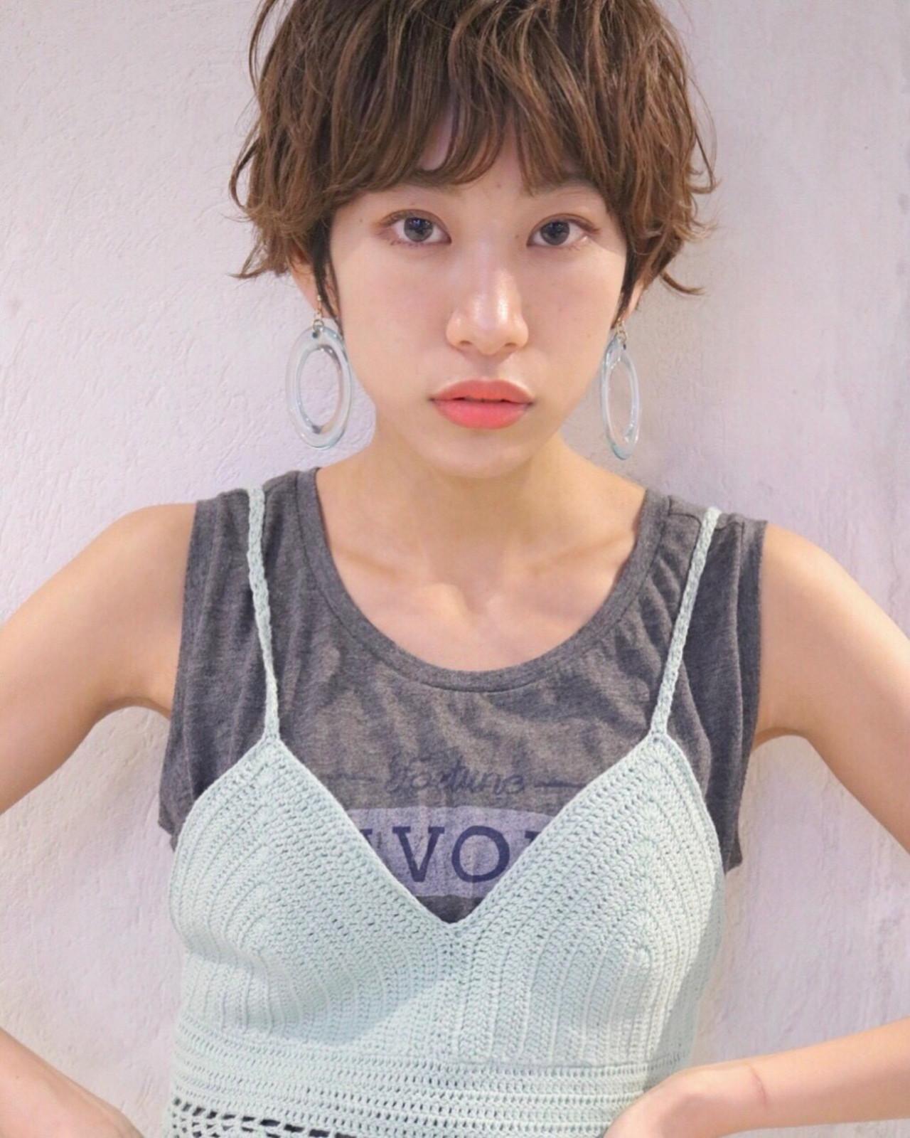 ガーリー ナチュラル 小顔 ショート ヘアスタイルや髪型の写真・画像 | Karin /