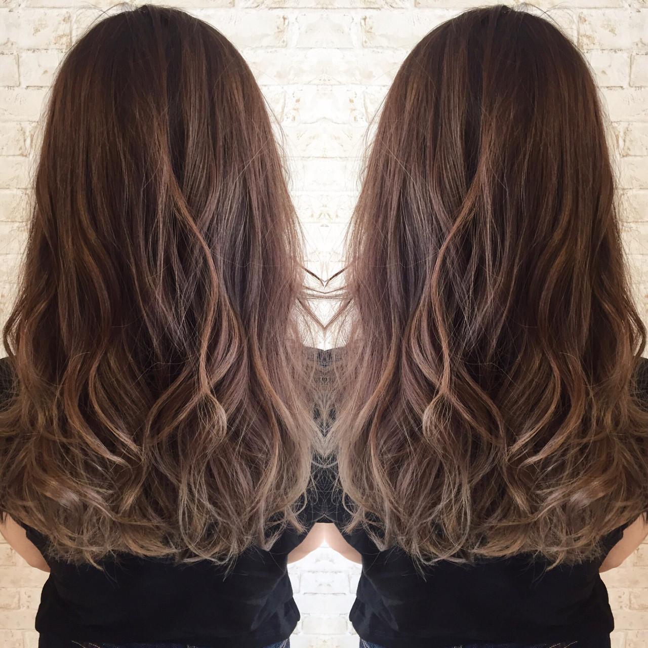 外国人風 ブラウン グラデーションカラー レッドヘアスタイルや髪型の写真・画像