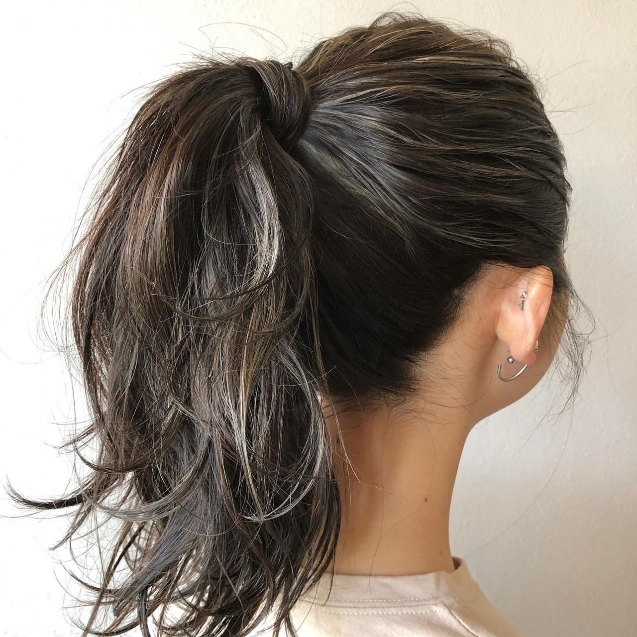 ストリート 大人ハイライト 極細ハイライト 3Dハイライトヘアスタイルや髪型の写真・画像