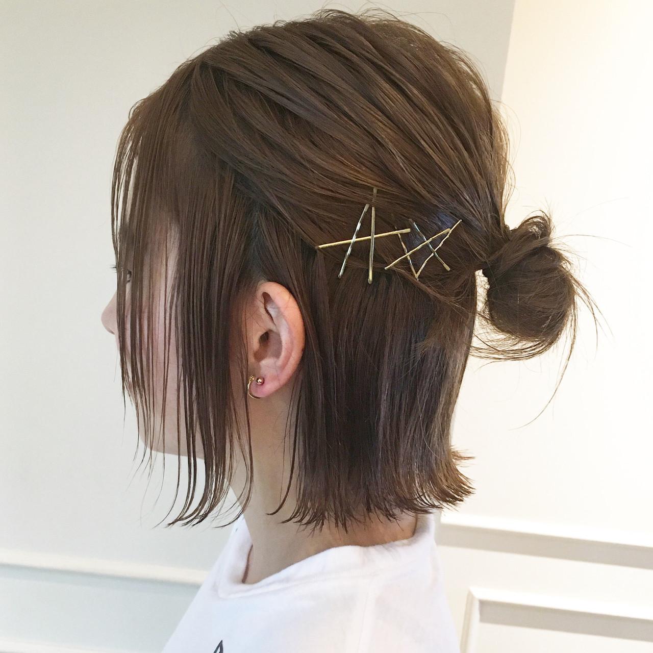 簡単ヘアアレンジ ボブ 大人女子 ガーリー ヘアスタイルや髪型の写真・画像   やしまひとみ / ROVER