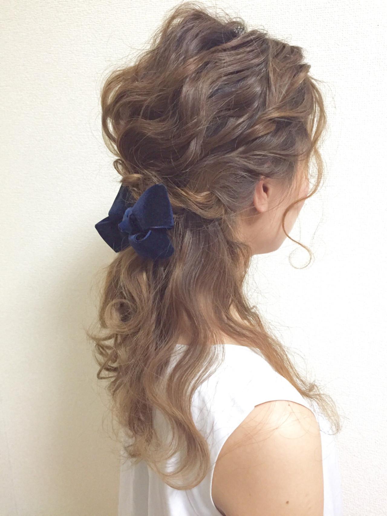 ハーフアップ 愛され ゆるふわ セミロング ヘアスタイルや髪型の写真・画像 | chiaki / magnet hair