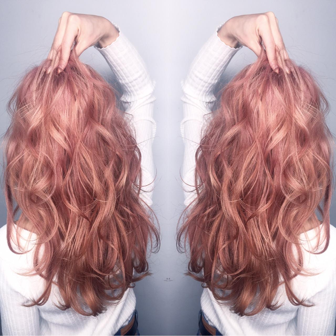 ロング ガーリー ミルクティー ピンク ヘアスタイルや髪型の写真・画像   筒井 隆由 / Hair salon mode