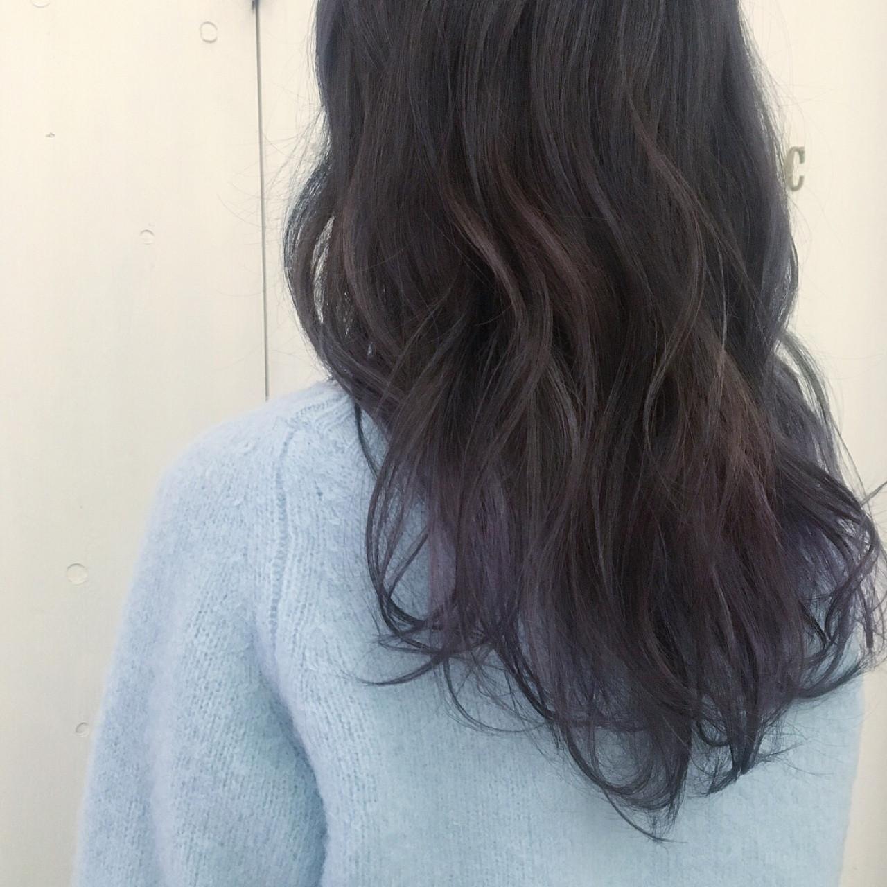 ロング 外国人風カラー ラベンダーアッシュ グラデーションカラーヘアスタイルや髪型の写真・画像