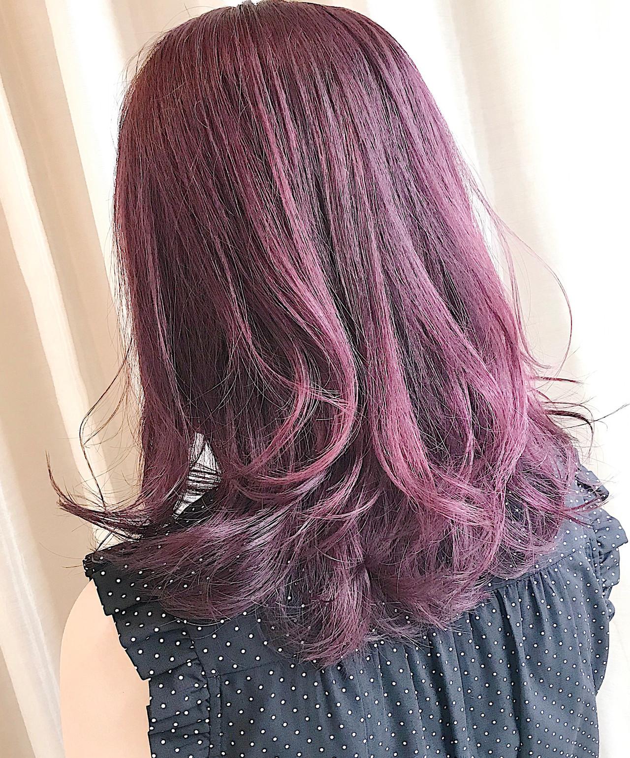 ピンクラベンダー ナチュラル ミディアム ピンクバイオレット ヘアスタイルや髪型の写真・画像 | 内田 一也 / hair/nail space a:le