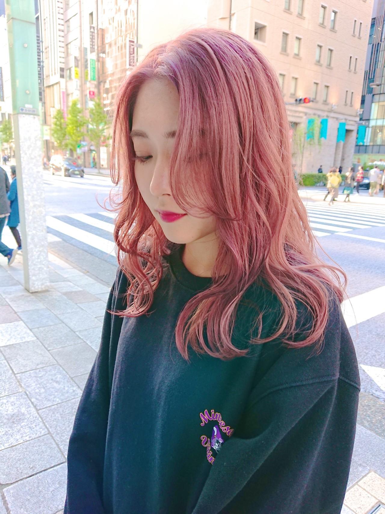 ピンク ヘアスタイル ガーリー イルミナカラー ヘアスタイルや髪型の写真・画像 | MATSUDA / HAIR DERA'S 中央通り店