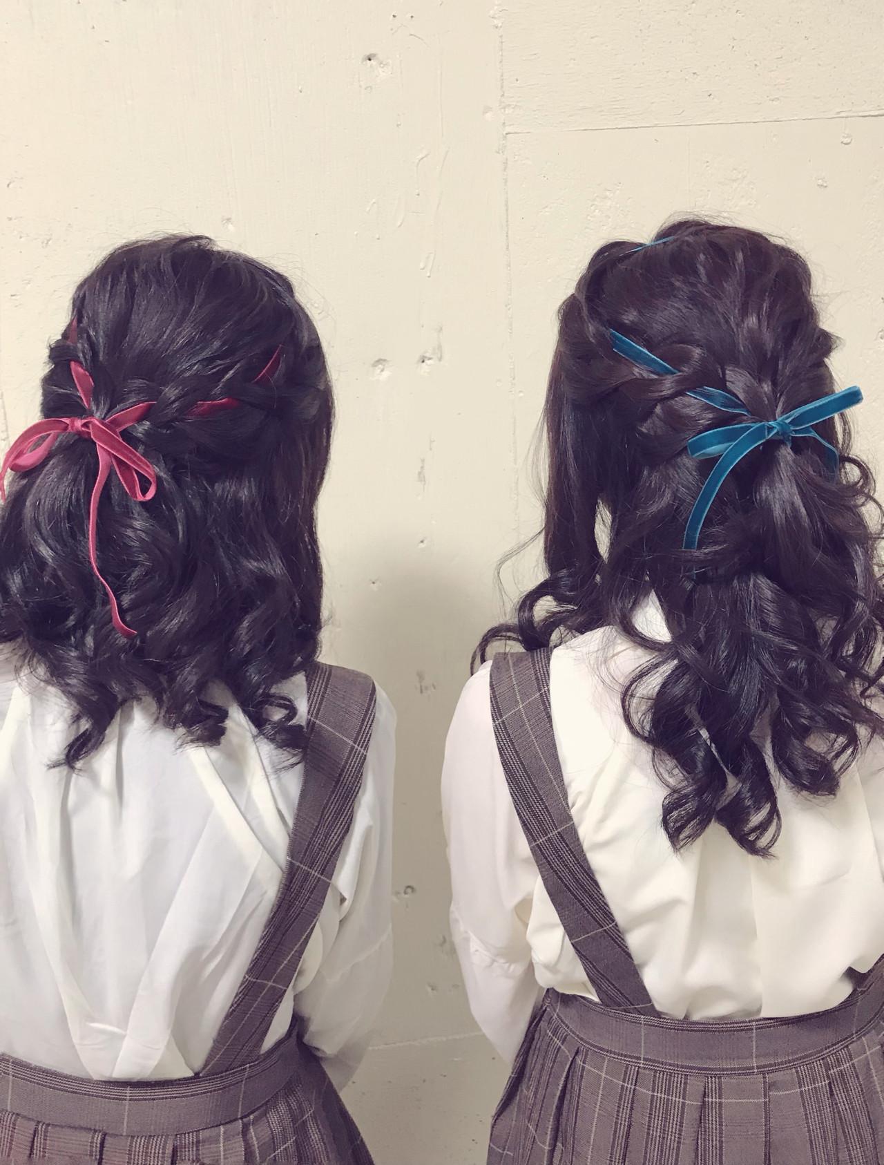 ロング ふわふわ ハーフアップ ガーリーヘアスタイルや髪型の写真・画像