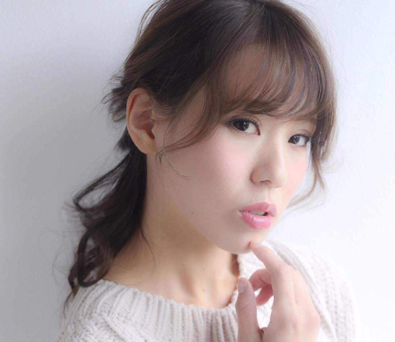 フェミニン ヘアアレンジ ミディアム ヘアスタイルや髪型の写真・画像 | moe /