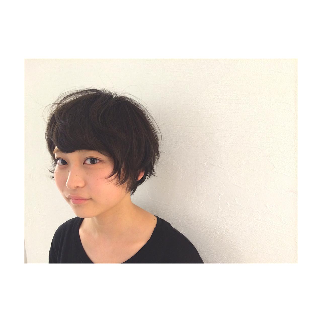 ショート 暗髪 黒髪 パーマ ヘアスタイルや髪型の写真・画像 | 津村正和/大阪心斎橋 / freelance