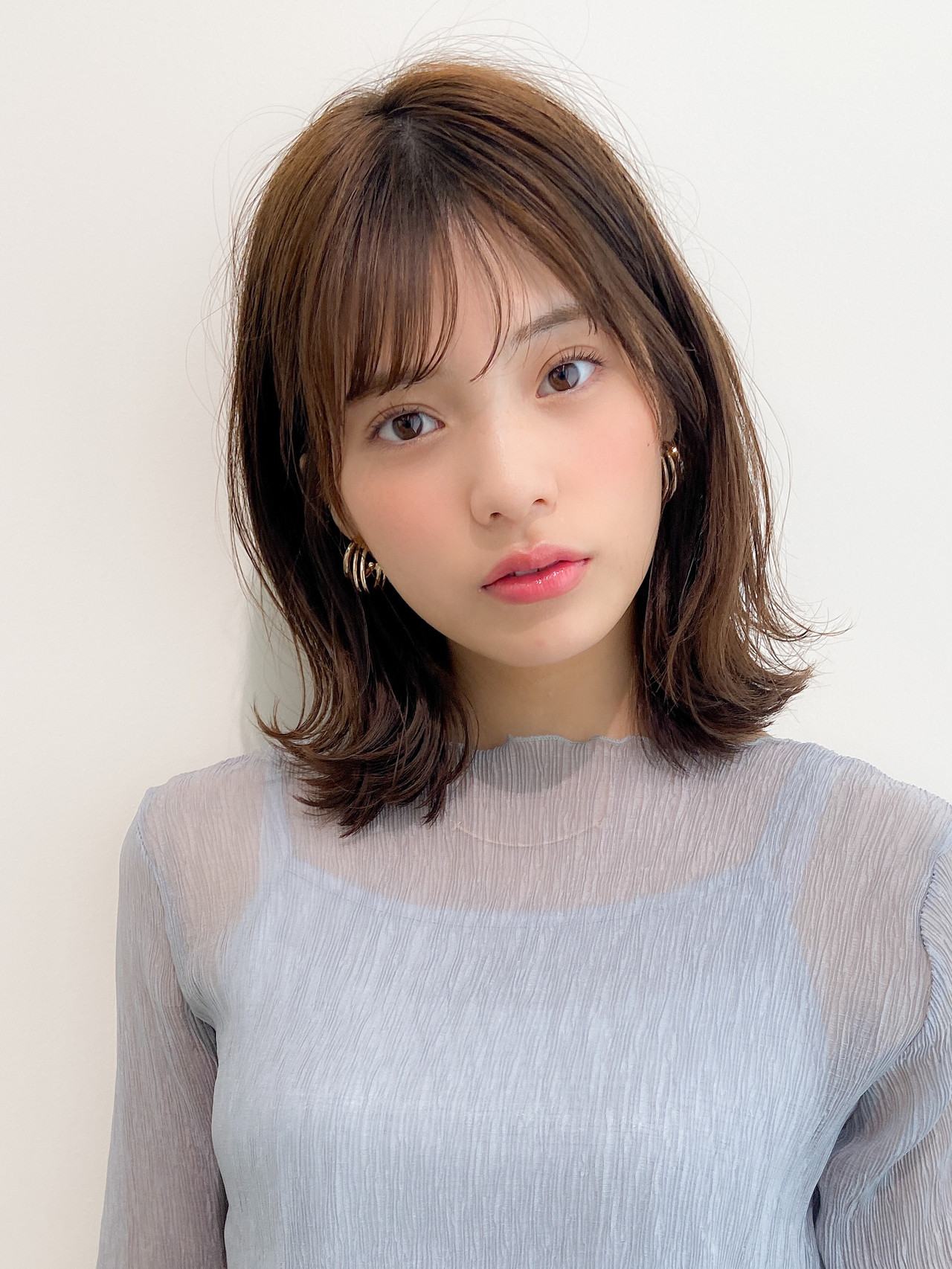 デジタルパーマ モテ髪 ミディアム アンニュイほつれヘア ヘアスタイルや髪型の写真・画像