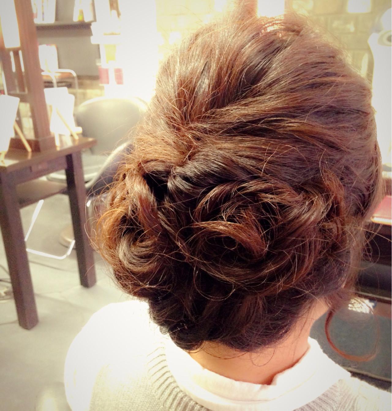 ヘアアレンジ 大人かわいい 編み込み ミディアムヘアスタイルや髪型の写真・画像