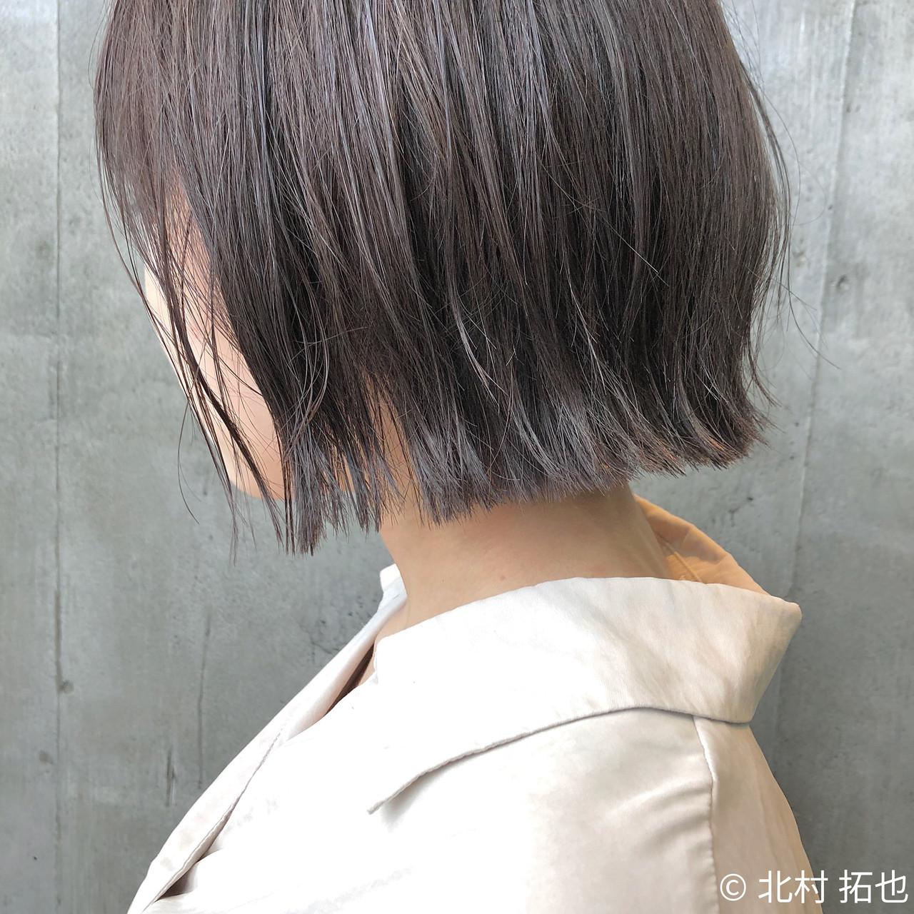 透明感カラー ボブ 切りっぱなしボブ ブルージュヘアスタイルや髪型の写真・画像