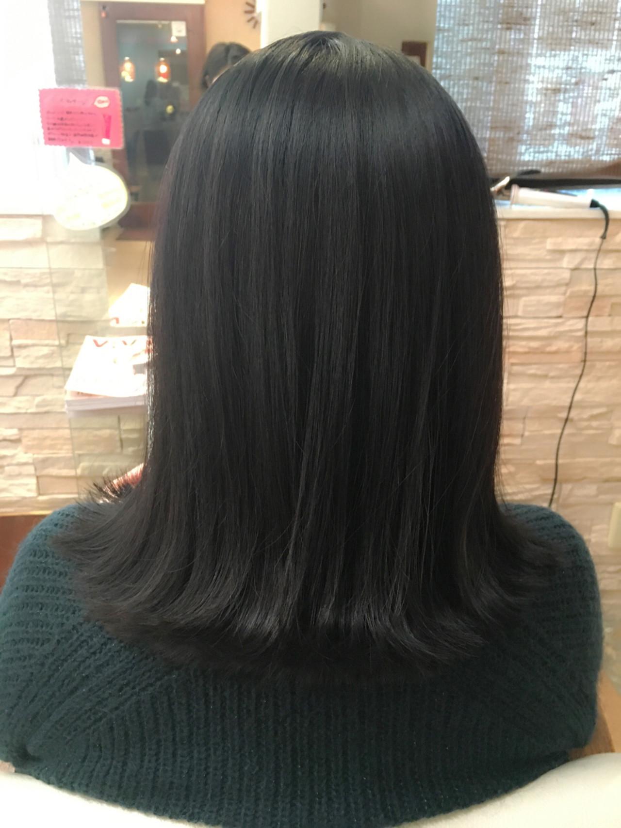 ネイビー ナチュラル 黒髪 暗髪ヘアスタイルや髪型の写真・画像