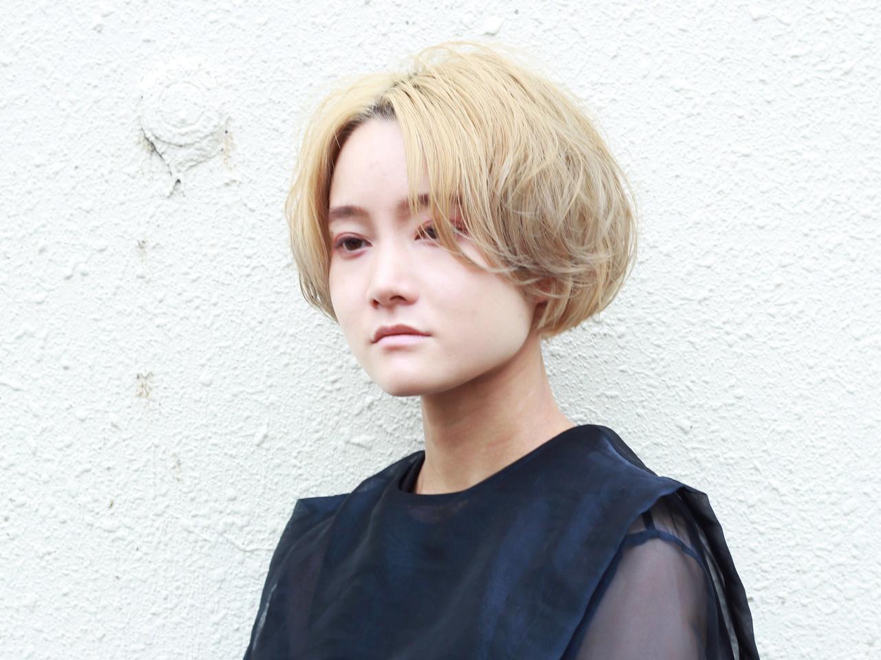 モード ブリーチカラー ミディアム モテボブ ヘアスタイルや髪型の写真・画像 | 元橋啓太 / snob