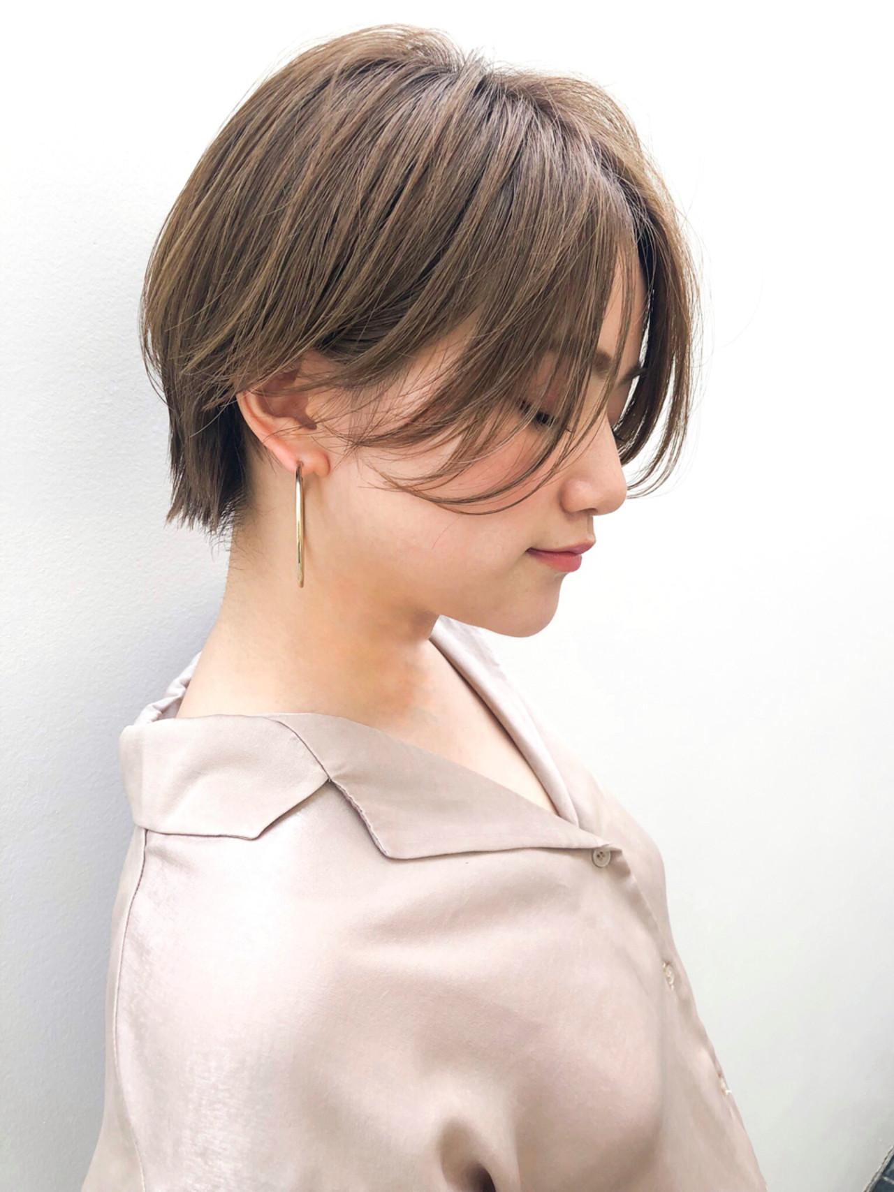 ショート 前髪なし 小顔 ウェットヘアヘアスタイルや髪型の写真・画像