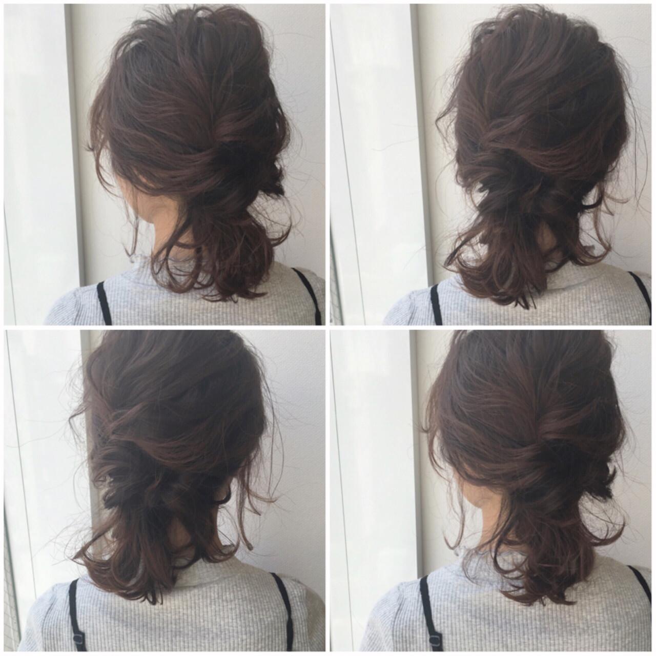 くるりんぱ ヘアアレンジ ボブ シニヨンヘアスタイルや髪型の写真・画像