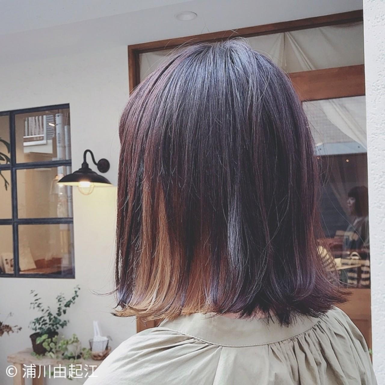 インナーカラー ナチュラル デート ハイライト ヘアスタイルや髪型の写真・画像 | 浦川由起江 / nanon
