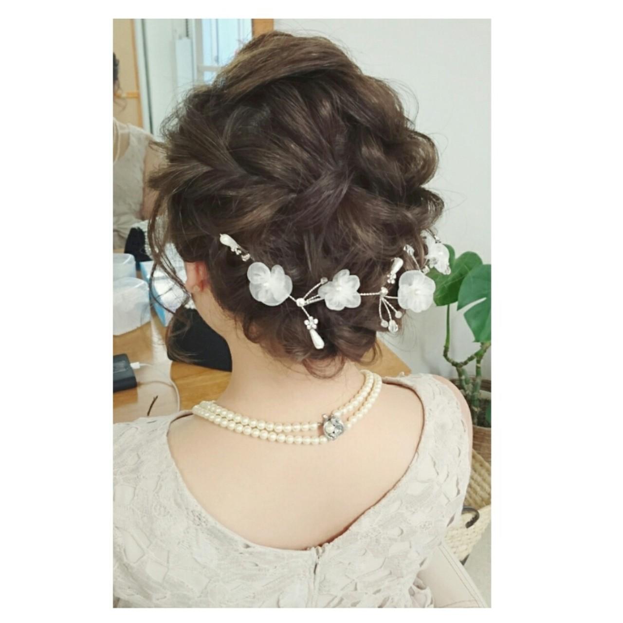 まとめ髪 編み込み ヘアアレンジ ミディアム ヘアスタイルや髪型の写真・画像 | chisa* / CURE