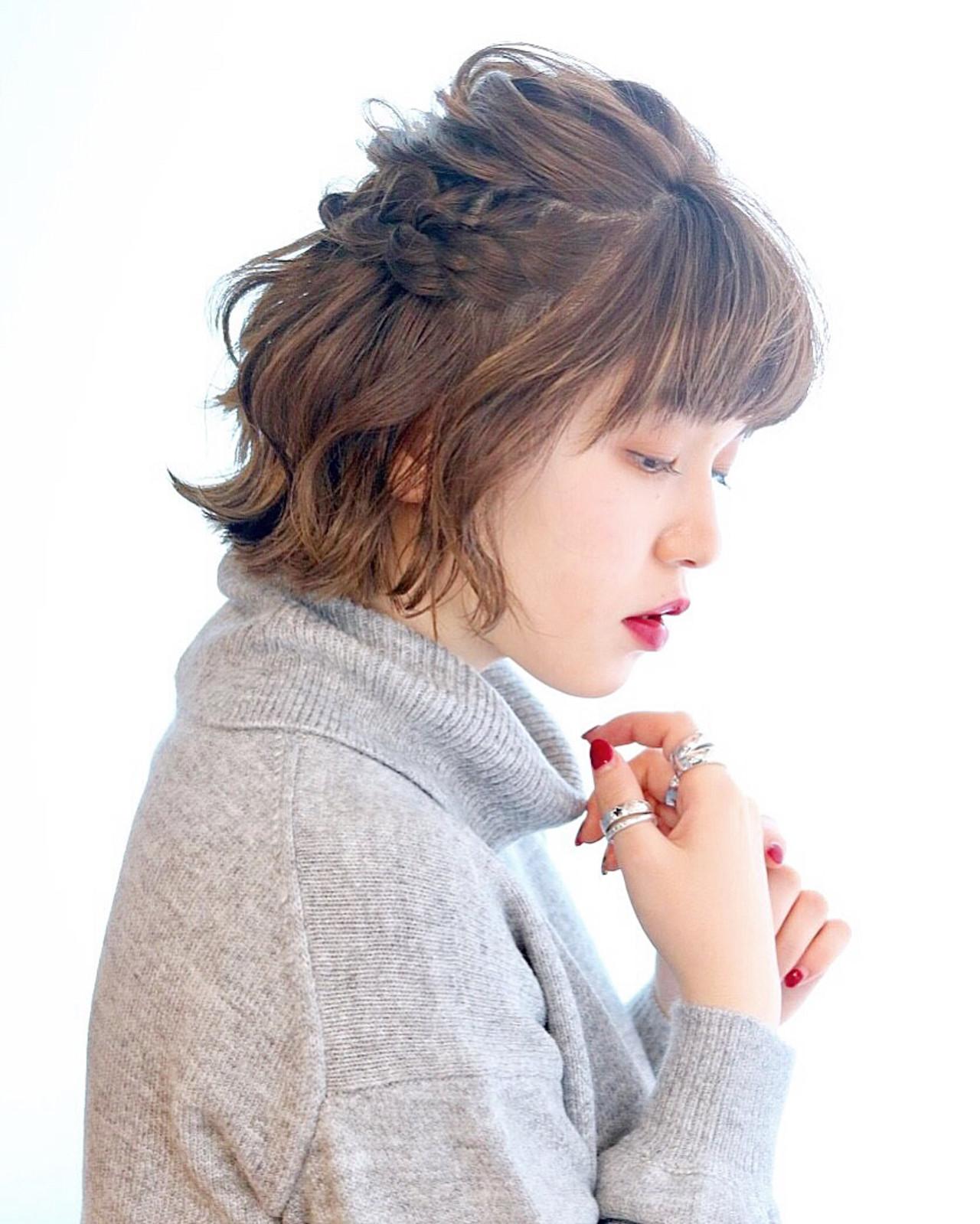 デート 成人式 ボブ アンニュイほつれヘア ヘアスタイルや髪型の写真・画像 | あくつ ゆり。 /
