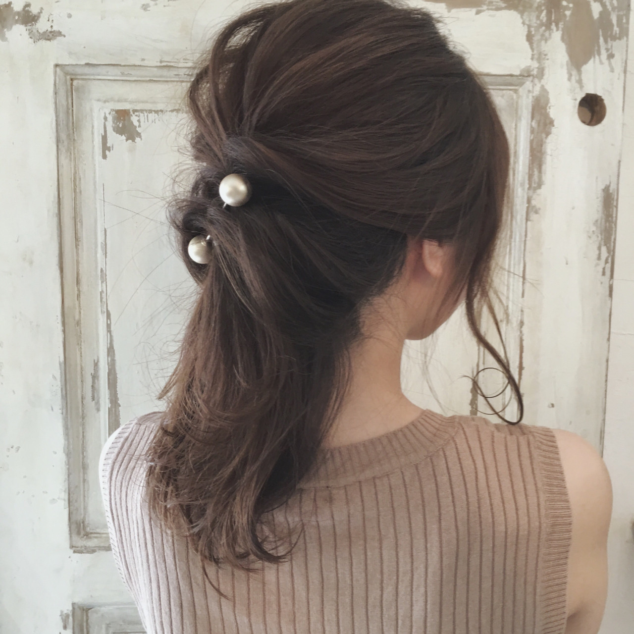 ナチュラル ヘアアレンジ ミディアム 結婚式 ヘアスタイルや髪型の写真・画像 | まなべっち / infini