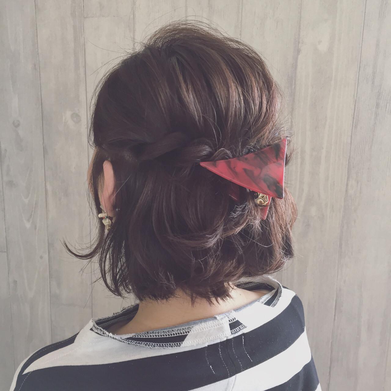 簡単ヘアアレンジ ヘアアレンジ ボブ 三角クリップヘアスタイルや髪型の写真・画像