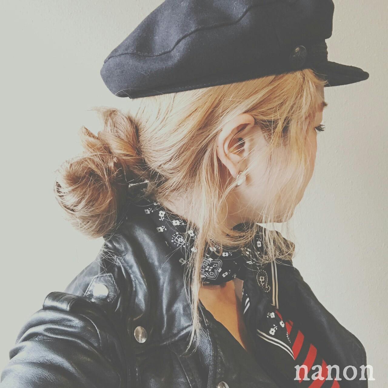 グレージュ お団子 ロング ヘアアレンジ ヘアスタイルや髪型の写真・画像 | 浦川由起江 / nanon
