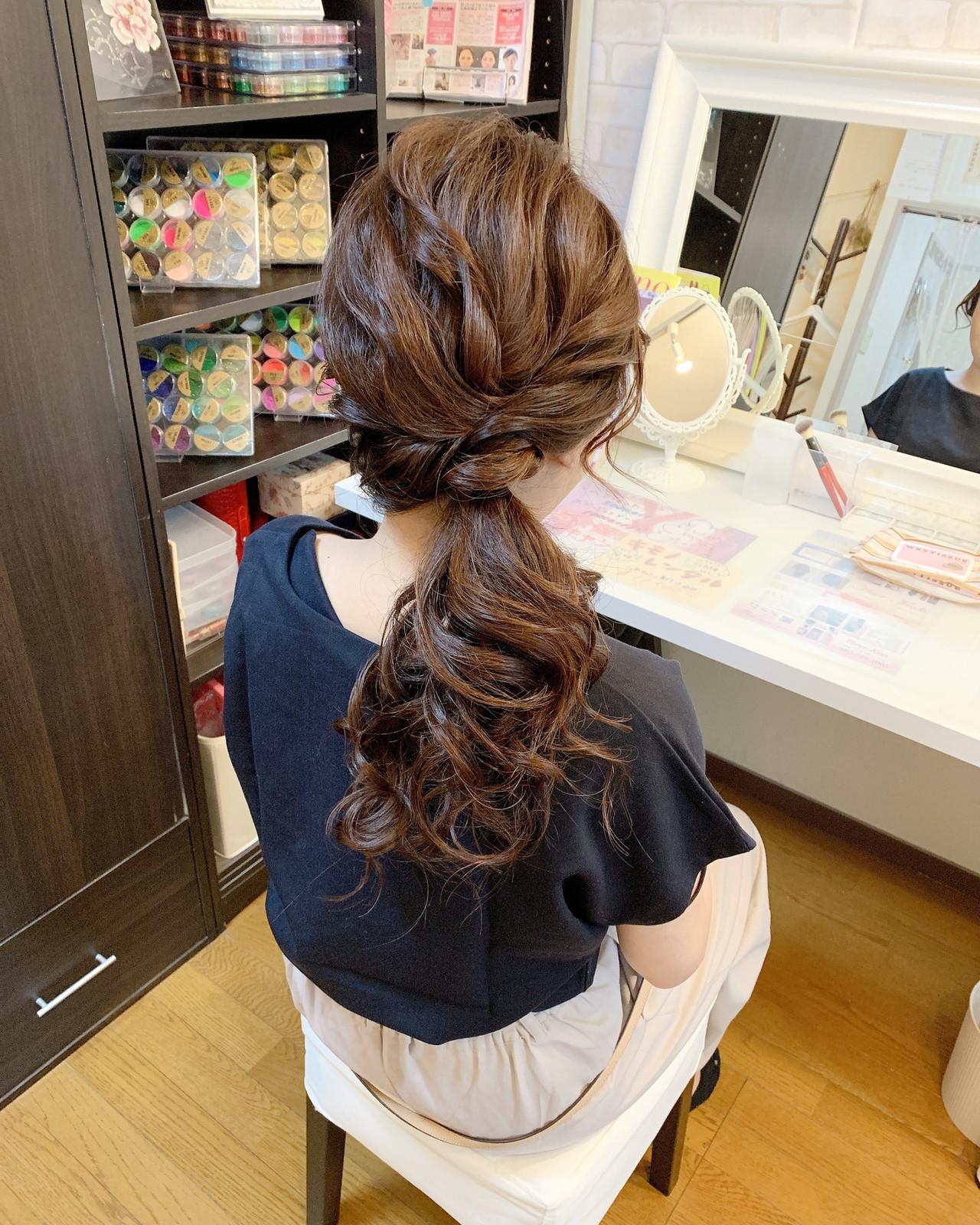 ナチュラル ヘアアレンジ 簡単ヘアアレンジ オフィス ヘアスタイルや髪型の写真・画像 | Moriyama Mami / 福岡天神ヘアセット・着付け専門店【Three-keys】