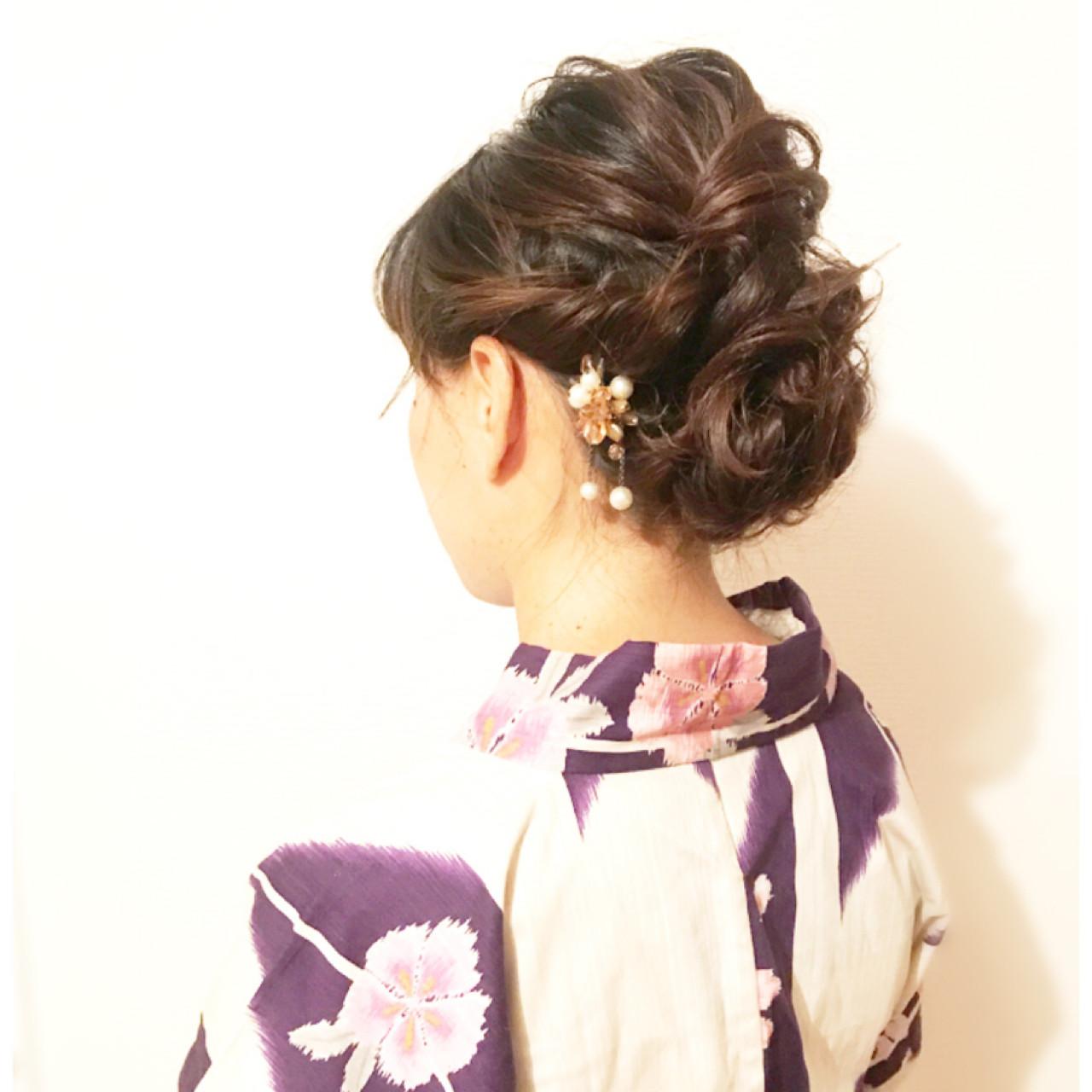 簡単ヘアアレンジ 花火大会 お祭り エレガント ヘアスタイルや髪型の写真・画像   Yucco / ヘアメイク専門店 BeautySalonnagomi 立川店