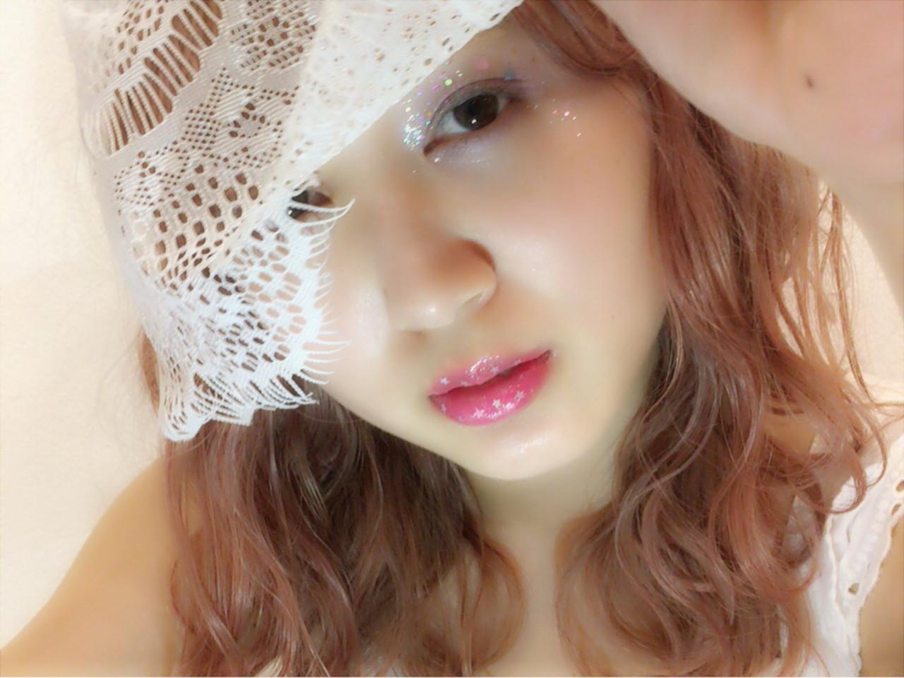 ピンク ヘアメイク コスメ・メイク ガーリーヘアスタイルや髪型の写真・画像