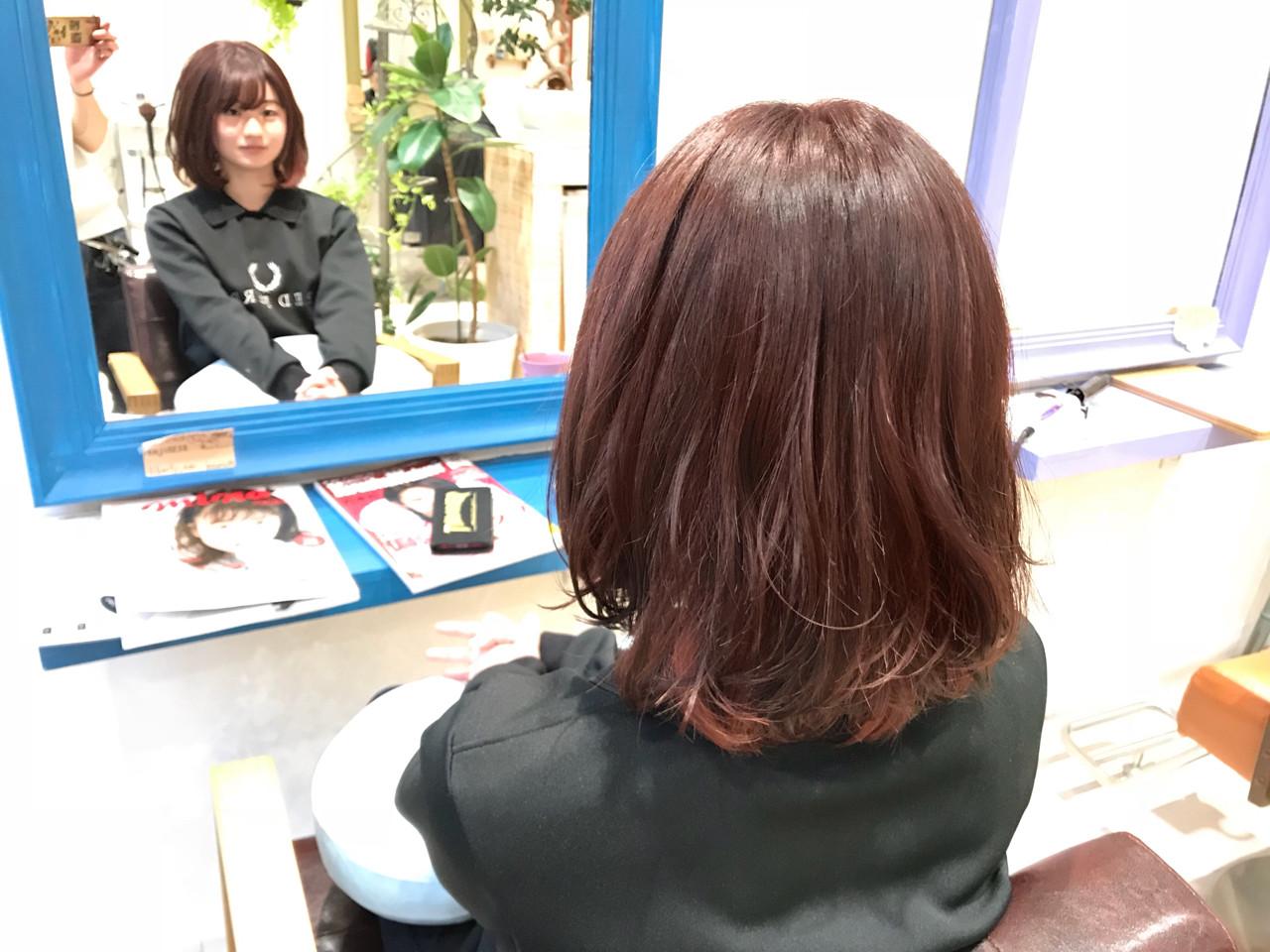 ゆるふわ フェミニン ピンク レッドヘアスタイルや髪型の写真・画像
