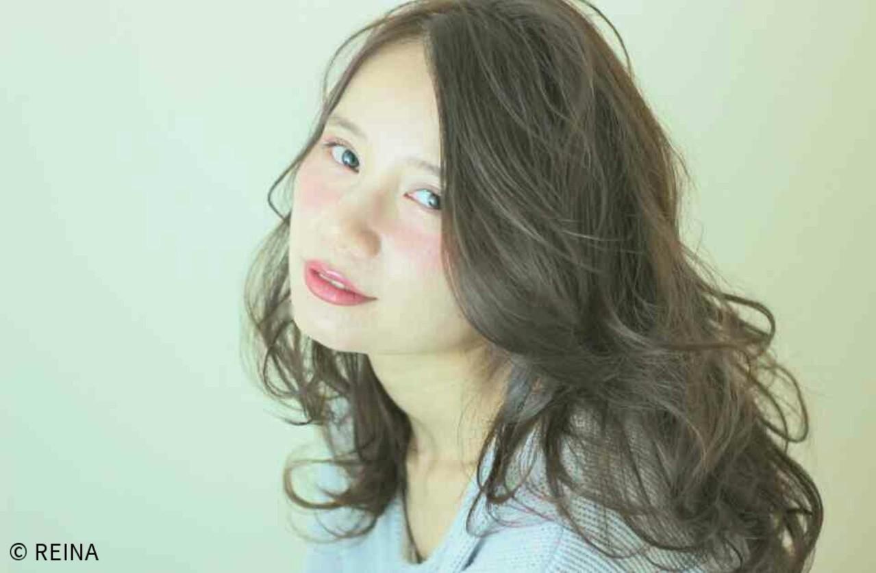 ブラウン ナチュラル セミロング ゆるふわ ヘアスタイルや髪型の写真・画像 | REINA /