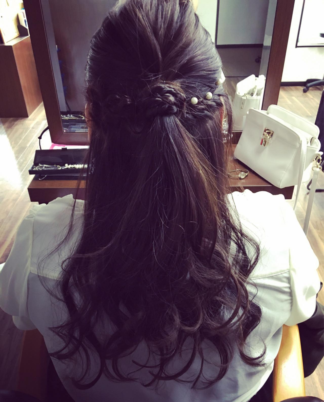 ハーフアップ ショート ロング フェミニン ヘアスタイルや髪型の写真・画像 | ヤマダユウカ / AUBEhair room