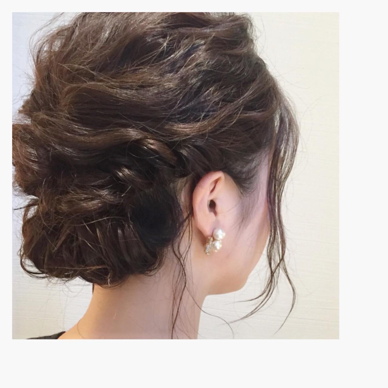 ヘアアレンジ ショート 編み込み ゆるふわヘアスタイルや髪型の写真・画像