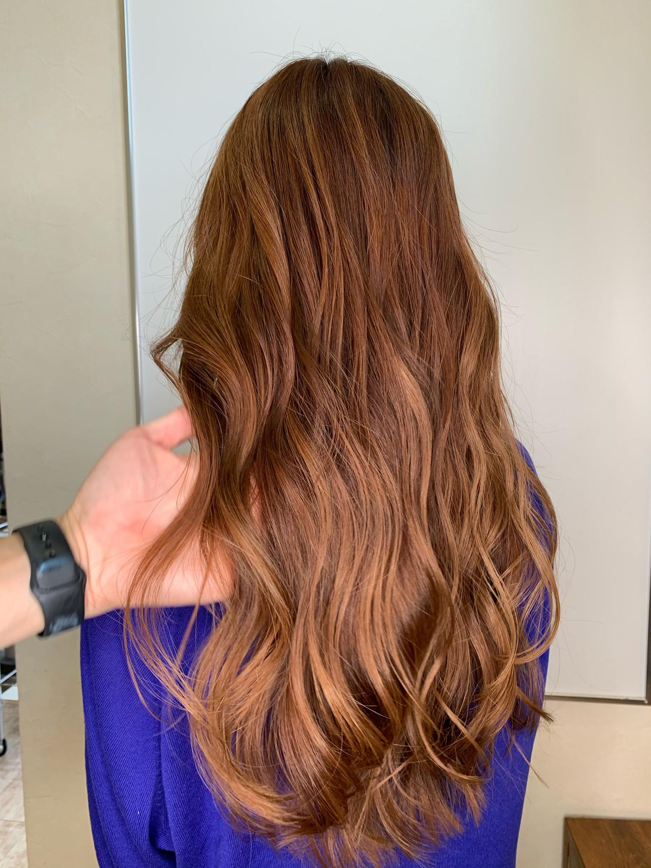 オレンジブラウン オレンジベージュ アプリコットオレンジ ロング ヘアスタイルや髪型の写真・画像