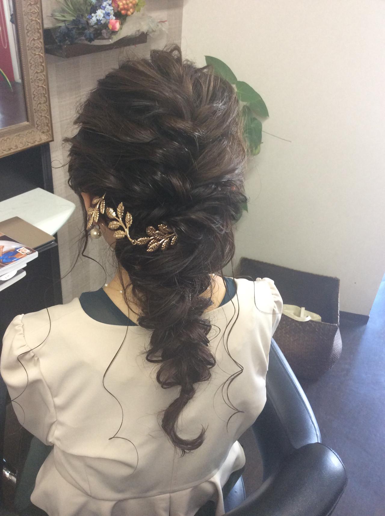 結婚式 セミロング ヘアアレンジ ナチュラル ヘアスタイルや髪型の写真・画像