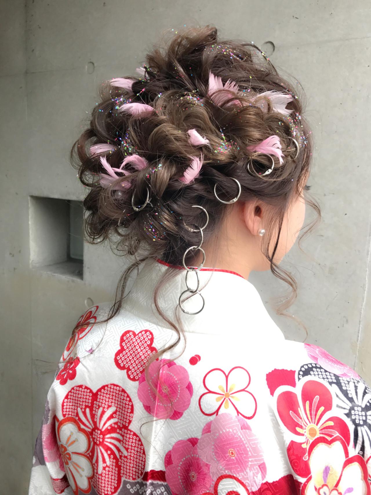 ガーリー 簡単ヘアアレンジ 結婚式 ミディアムヘアスタイルや髪型の写真・画像