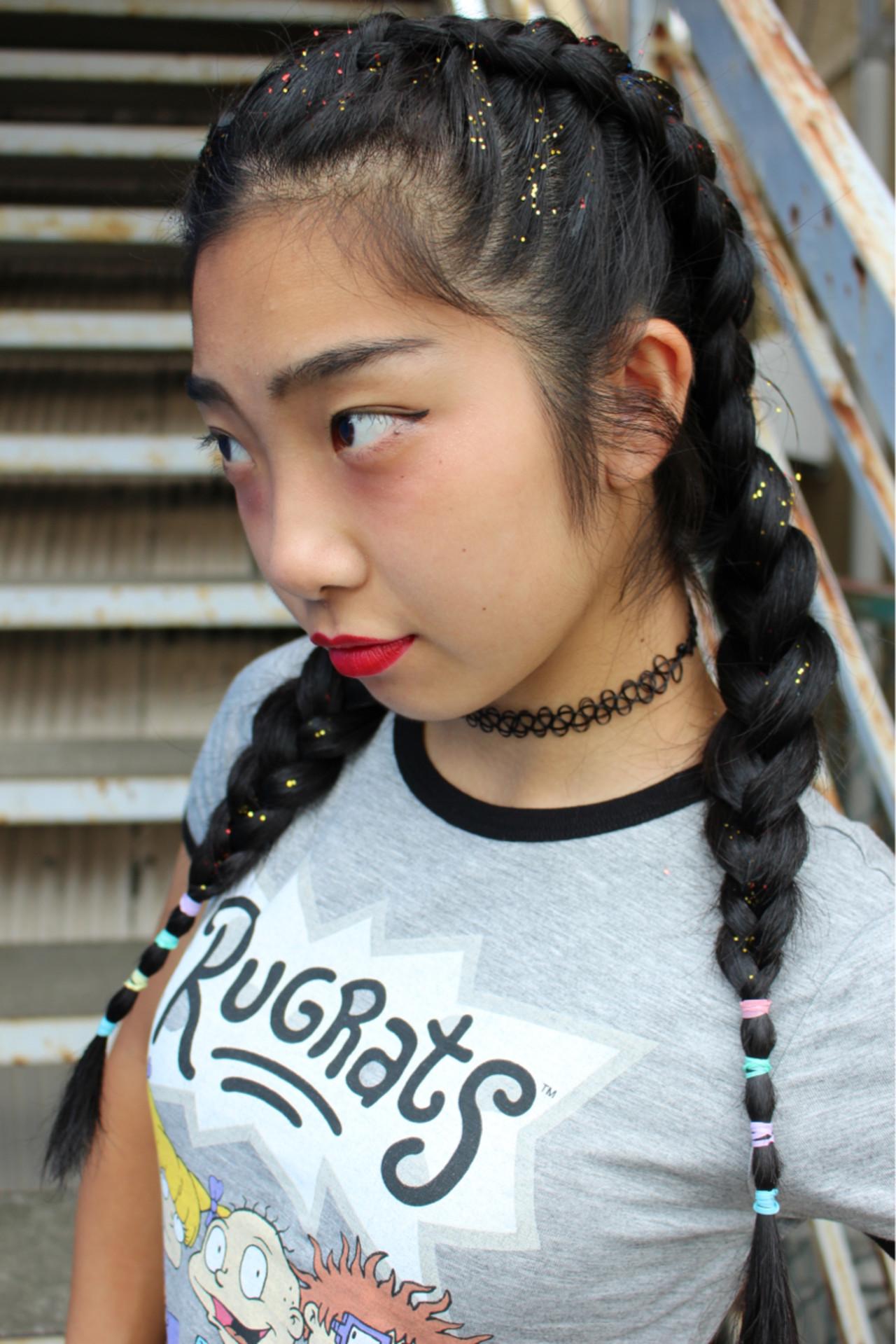 黒髪 編み込み ロング 個性的 ヘアスタイルや髪型の写真・画像 | サワ / Seamu