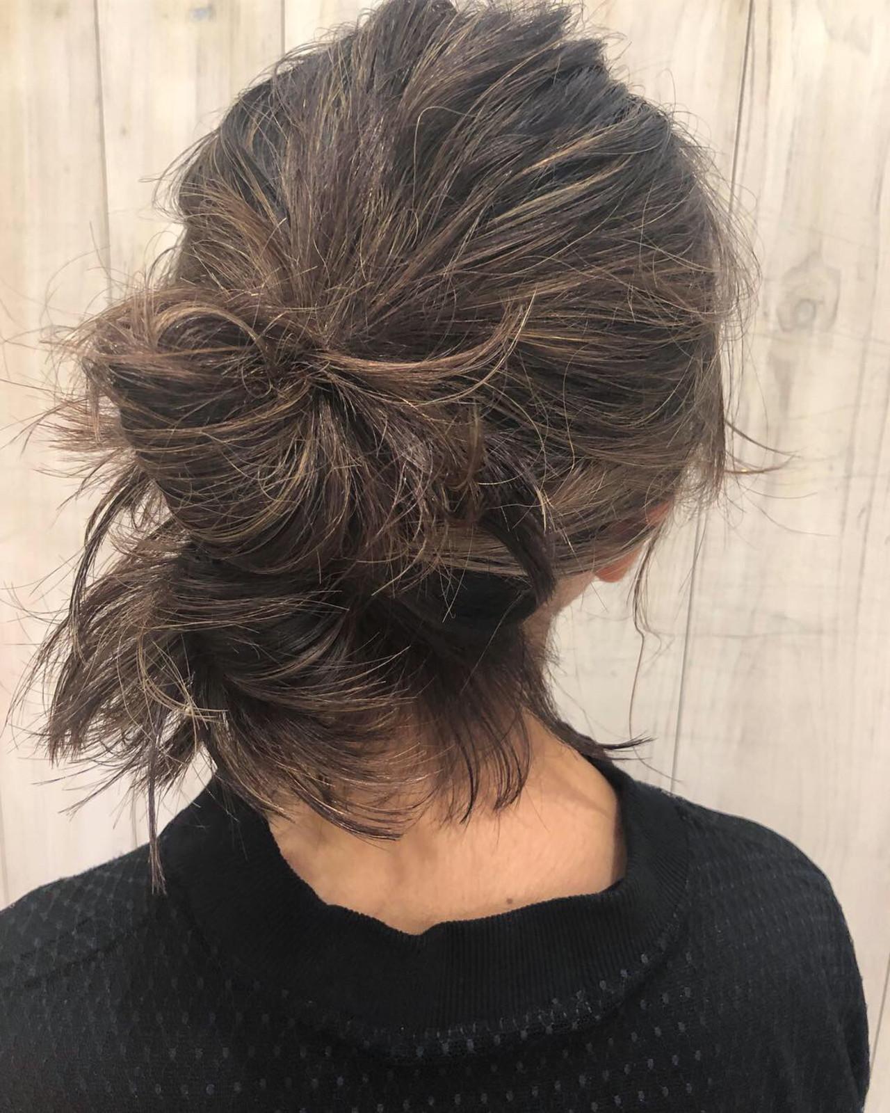 簡単ヘアアレンジ ミディアム アンニュイほつれヘア デートヘアスタイルや髪型の写真・画像