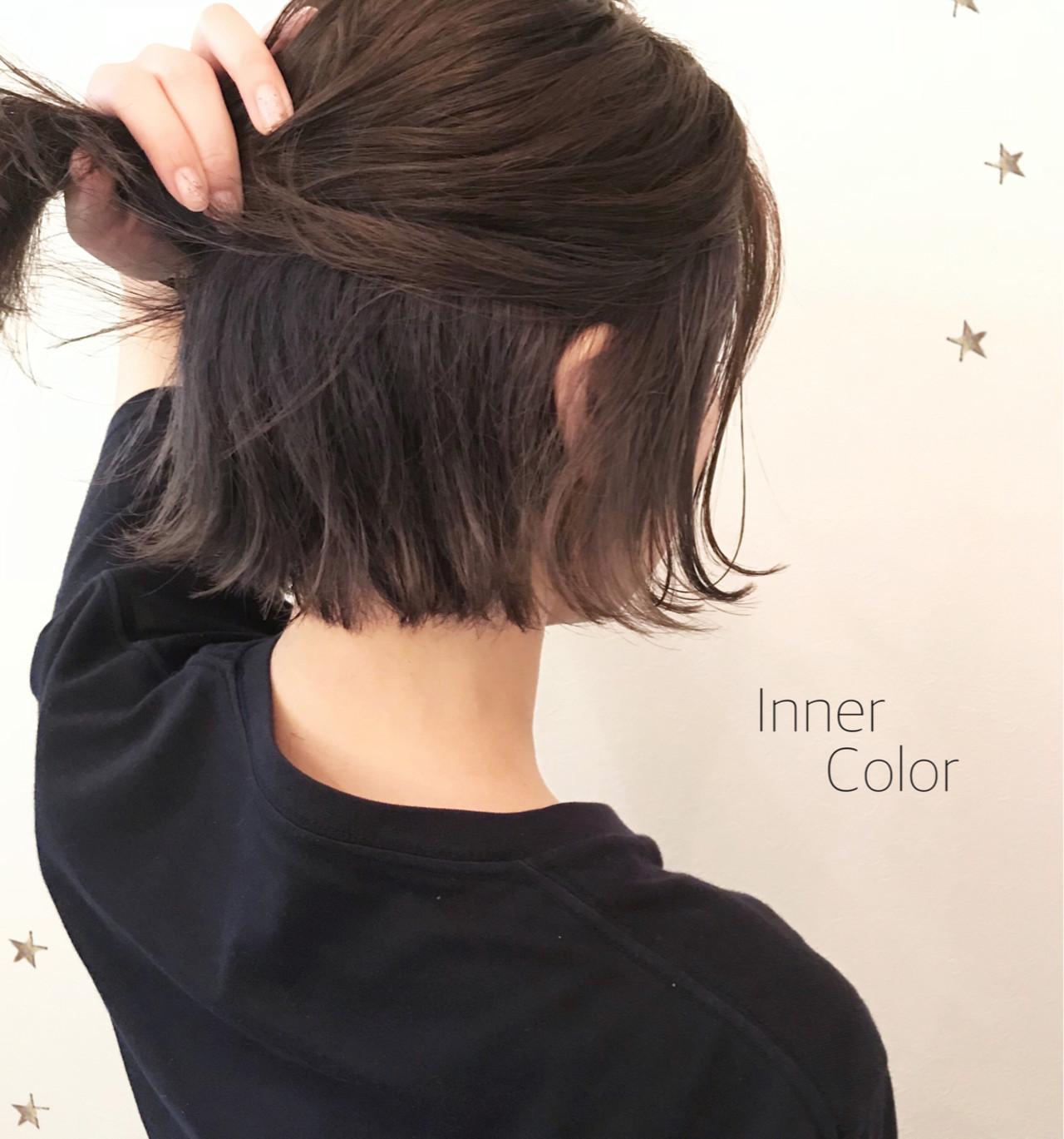 ストリート インナーカラー こなれ感 ボブヘアスタイルや髪型の写真・画像