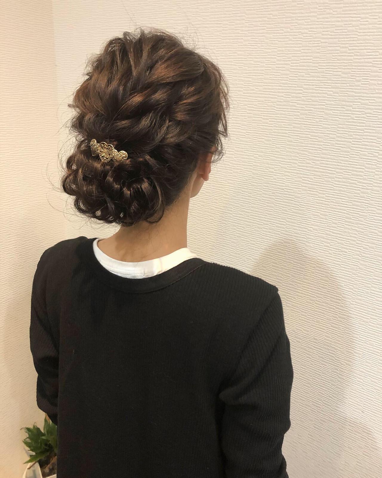 ヘアセット ねじり アップ セミロング ヘアスタイルや髪型の写真・画像 | mai / HAIR SALON STELLA