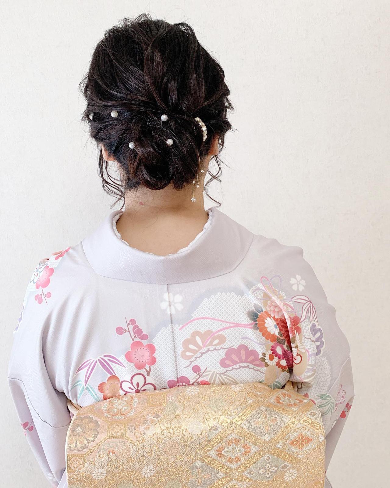 着物 訪問着 アップスタイル 結婚式 ヘアスタイルや髪型の写真・画像 | Moriyama Mami / 福岡天神ヘアセット・着付け専門店【Three-keys】