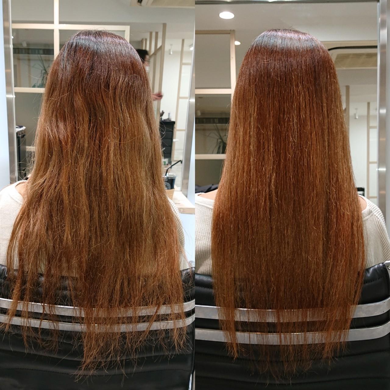 ナチュラル 美髪 ロング 縮毛矯正ヘアスタイルや髪型の写真・画像