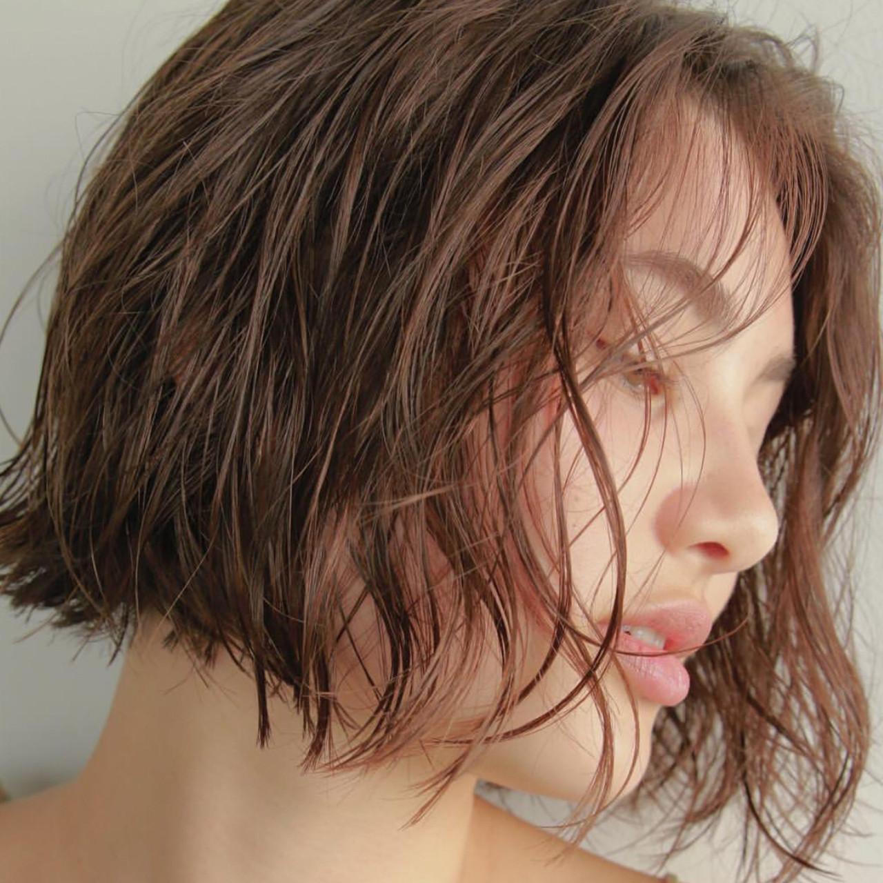 パーマ  ベージュカラー ボブ ヘアスタイルや髪型の写真・画像   高橋 忍 / nanuk渋谷店(ナヌーク)