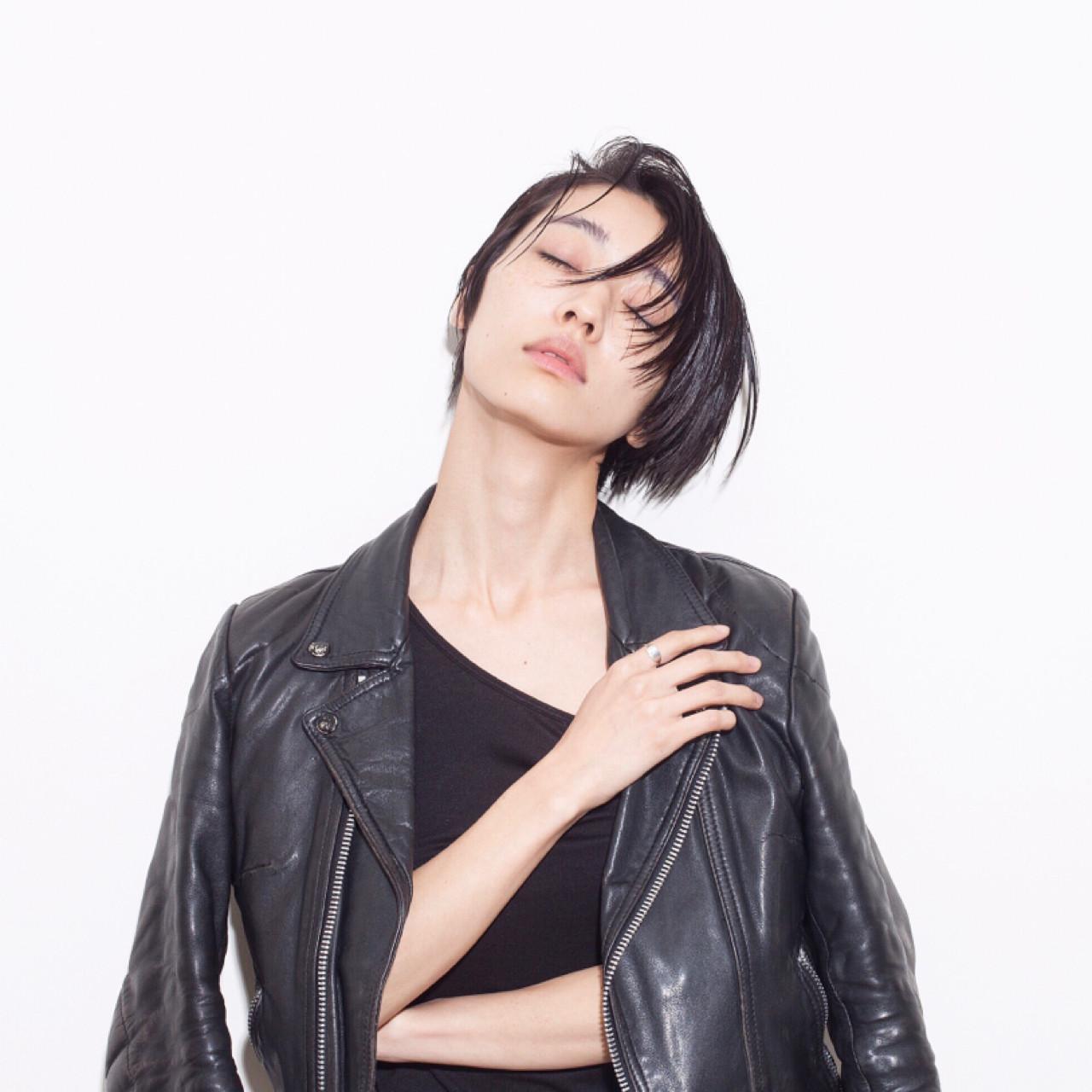 モード 小顔 前髪あり 黒髪 ヘアスタイルや髪型の写真・画像 | 芦原照成 / Nicole.