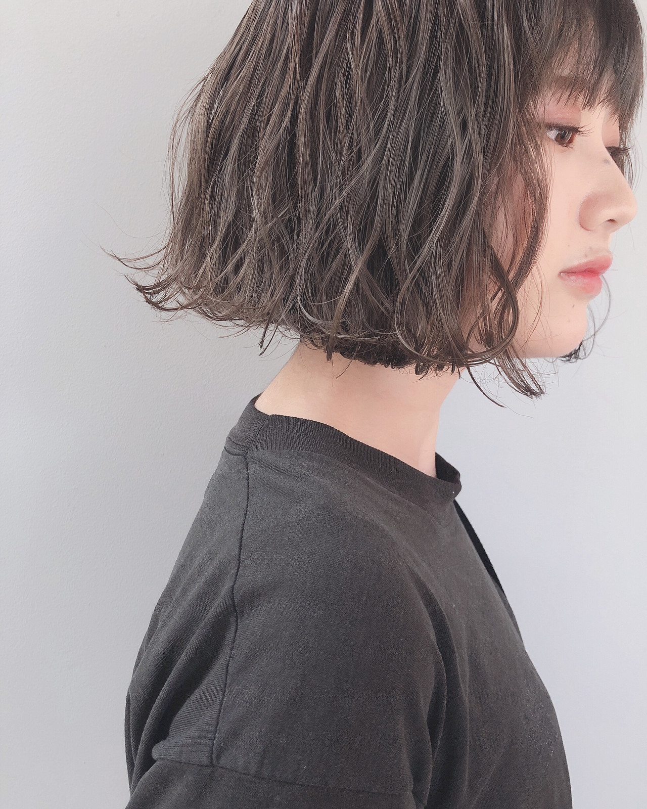 パーマ ボブ グレージュ ナチュラル ヘアスタイルや髪型の写真・画像 | 上田智久 / ooit 福岡 天神 / ooit