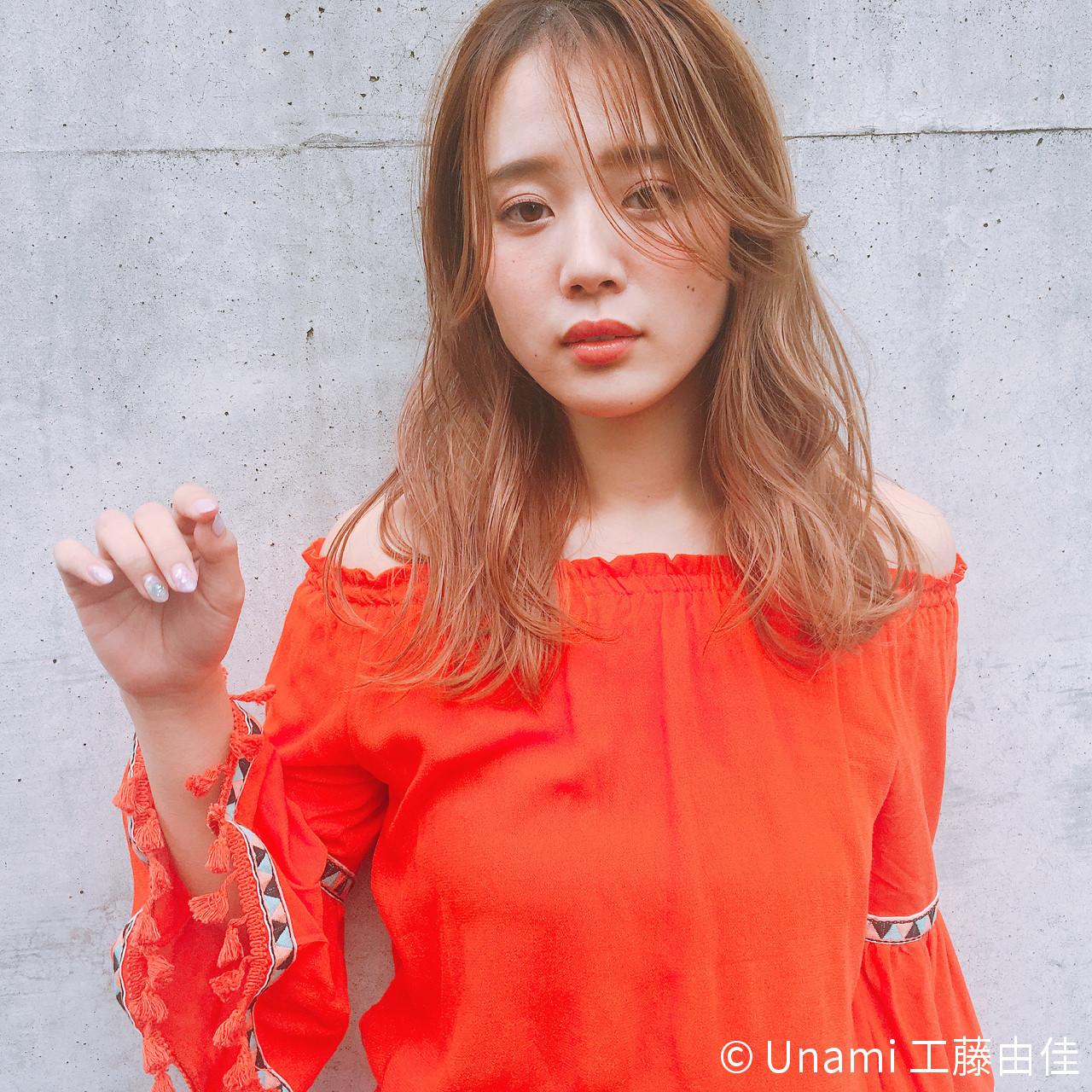 セミロング パーマ ゆるふわ 色気 ヘアスタイルや髪型の写真・画像 | Unami 工藤由佳 / Unami omotesando